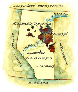 2. Athabascan tar sands on map