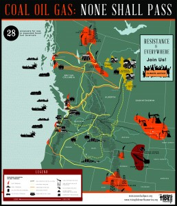 """Image of Pacific NW Fossil Fuel Export Map with the heading """"Coal Oil Gas: None Shall Pass"""""""