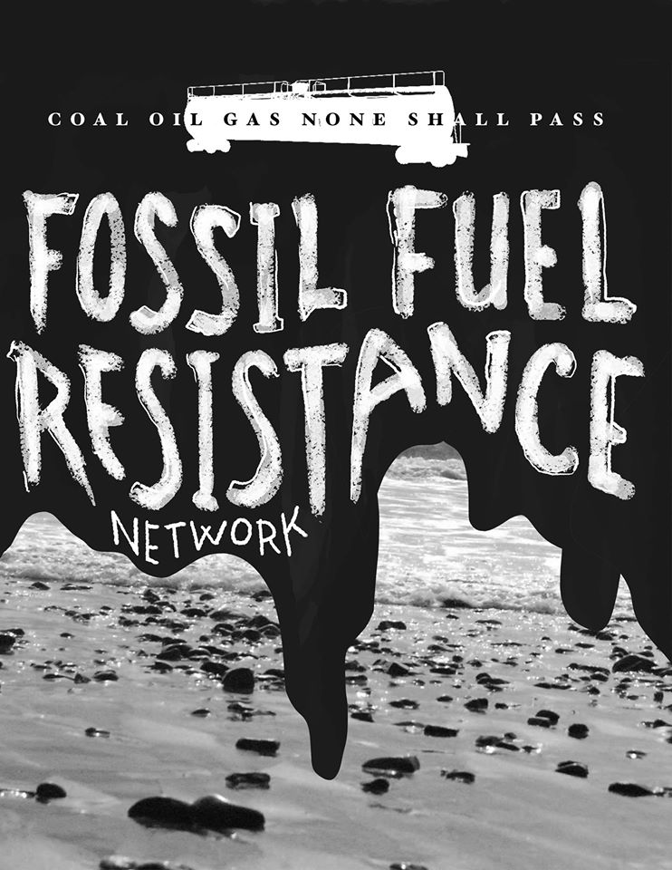Fossil Fuel Resistance poster. Black oil running down over a picture of a beach with Fossil Fuel Resistance in white lettering.