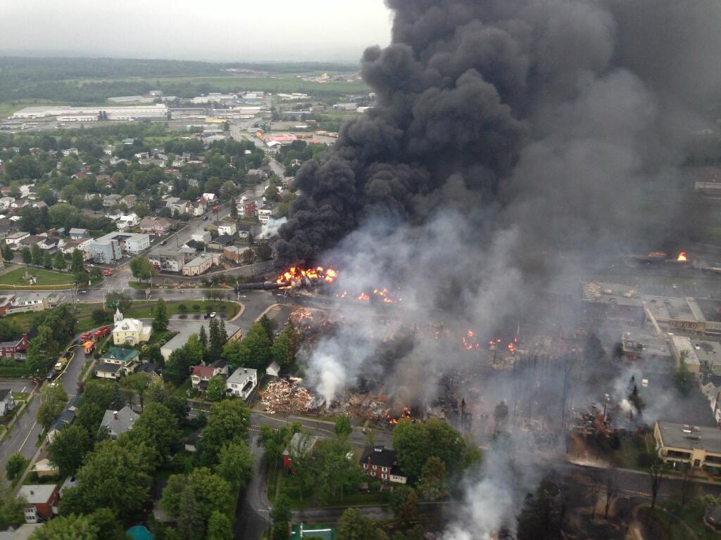 Ariel view of oil train burning in Lac-Mégantic, Quebec