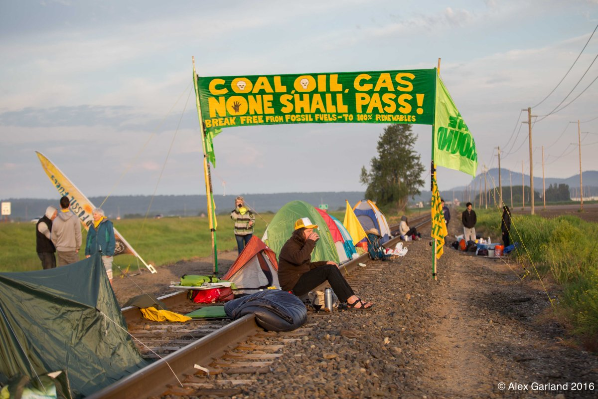 Break Free protesters camped on the tracks outside of Tesoro refiner in Anacortes